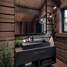 Kvitfjell – Spektakulær stavlafthytte med særdeles høy standard, fantastisk u… Wood Home Decor, Cheap Home Decor, Villa Design, House Design, Log Home Interiors, Cabin Bathrooms, Log Cabin Homes, Bathroom Interior Design, House In The Woods