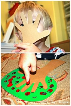 Simple hand and finger print apple tree craft, perfect for fall.