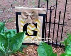Burlap Garden Flag with Bright Tea or Ceaml by ModernRusticGirl
