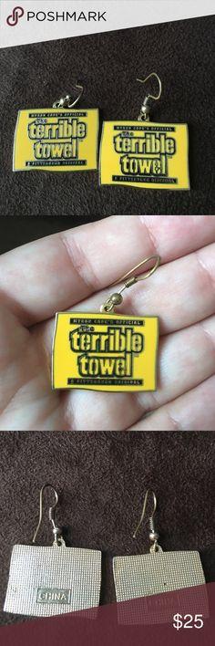 "Steelers ""Terrible Towel"" earrings NFL Steelers earrings Jewelry Earrings"