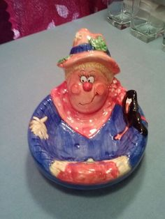 Scarecrow Candy/Nut Dish Ceramic by WCL $$$ SALE PRICED $$$