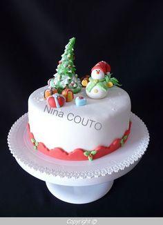 Gâteau de Noël, déco en pâte à sucre