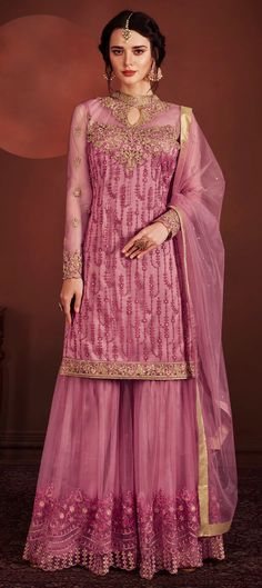 Light Purple Fully Embroidered Flared Palazzo Suit shows combination of embossed zari and thread embedded traditional embroidery on heavy ney fabric top with minimalist detail paired with designer net embroidered palazzo pants Flared Palazzo, Palazzo Suit, Sharara, Salwar Kameez, Lehenga Choli, Kurti, Suits Show, Used Dresses, Indian Ethnic Wear