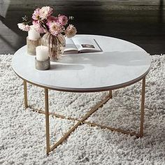 Aurelia 36 Wide Faux Marble and Gold Modern Coffee Table Coffee Table Design, Cofee Table, Small Coffee Table, Coffee Table Styling, Decorating Coffee Tables, Modern Coffee Tables, Marble Top Coffee Table, Modern Table, Gold Coffee Tables