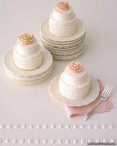 Simple designs, like the luscious buttercream blooms atop these tiny cakes, can make a big impression. Just three inches high, these beauties could be the highlight of a dessert buffet or served at each place at a shower.