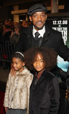 Will Smith with his children Willow Smith and Jaden Smith.