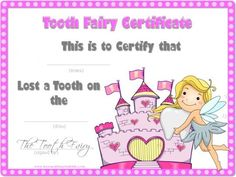 Tooth fairy certificate with pink border projects to try tooth fairy certificate with pink border projects to try pinterest pink withbr and certificate yelopaper Image collections