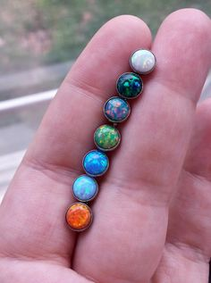 "Opal 14 gauge (1.6mm) Stone Tongue Barbell 5/8"" (16mm) & More Sizes Available! Piercing Jewelry Ring"
