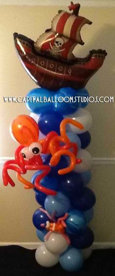 Pirate themed / Under the Sea balloon column Pirate Birthday, Pirate Theme, Pirate Party, 5th Birthday, Birthday Parties, Kid Parties, Ballon Decorations, Column Design, Bday Girl