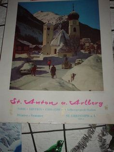 St Anton am Arlberg 60's Alps, Skiing, Summertime, The Incredibles, Country, Retro, Painting, Ski, Rural Area