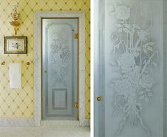 Bathroom - Etched glass shower door.  www.lindafloyd.com