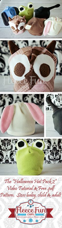 Free fleece hat pdf patterns!  Be a Bunny, Owl, BUg, Puppy, Monkey, or Frog!  Easy DIY.  Keep your kid warm on Halloween and beyond! =)