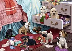 Ravensburger Mischief Makers Large Format 300 Piece Jigsaw Puzzle For Adults - Every Piece Is Unique, Softclick Technology Means Pieces Fit Together P Ravensburger Puzzle, Dmc Cross Stitch, Cross Stitching, 300 Piece Puzzles, Embroidery Kits, Cool Artwork, Jigsaw Puzzles, Dog Puzzles, Cute Dogs