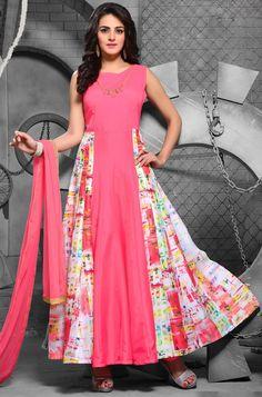 Pink Art Silk Churidar Anarkali Suit with Dupatta - #EID-FASHION-2016
