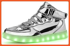 Poppin Kicks Unisex Adults LED Light Up Shoes Metallic Leather High Top Sneakers Silver Women 9.5 Men 6.5 - Sneakers for women (*Amazon Partner-Link)