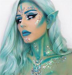 25 Halloween Makeup Looks to Scream Over - Skin & Makeup - Modern Salon These Halloween looks are to die for. Elf Makeup, Fairy Makeup, Cosplay Makeup, Costume Makeup, Skin Makeup, Beauty Makeup, Mermaid Fantasy Makeup, Makeup Brushes, Mermaid Makeup Looks