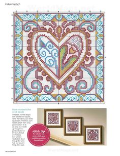 Indian triptych chart 2 Picture from Cross stitch. Cross Stitch Pillow, Cross Stitch Pictures, Cross Stitch Heart, Cross Stitch Flowers, Cross Stitching, Cross Stitch Embroidery, Embroidery Patterns, Cross Stitch Designs, Cross Stitch Patterns