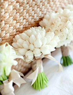 Bridal Party's All White Wedding Bouquets: All White Tulip Bouquet, All White Calla Lily Bouquet, All White Rose & Tulip Bouquet~~