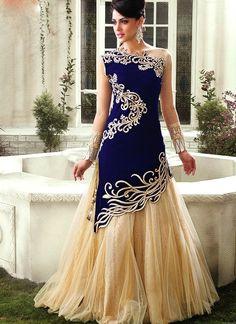Blue and Cream Velvet Anarkali Gown