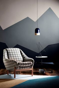 Get decorative wall Painting ideas and creative design tips to colour your interior home walls with Berger Paints. check out Inspirational wall design tip for interior walls. Geometric Wall Paint, Geometric Form, Modern Wall Paint, Geometric Mountain, Geometric Designs, Wall Paint Patterns, Diy Wall Painting, Painting Bedroom Walls, Wall Art