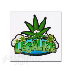 This sticker has a Legalize It cartoon character that is smoking a joint and it also has marijuana leaves around it.