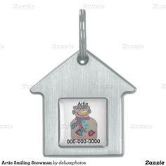 Artie Smiling Snowman Pet ID Tag