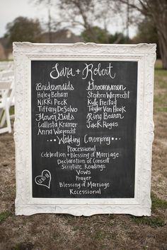 Framed Blackboard Wedding Program - Guests never really know what to do with their paper programs after the ceremony anyway. Eliminate waste by painting over a large, salvaged mirror with chalkboard paint. Fall Wedding, Wedding Reception, Dream Wedding, Wedding Stuff, Wedding Venues, Wedding Dress, Wedding Church, Wedding Crafts, Chic Wedding