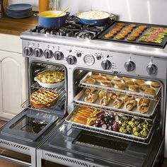 Imagine having a range that includes dual ovens. One that is huge with three shelves and able to handle a couple turkeys with no problems. The second oven i