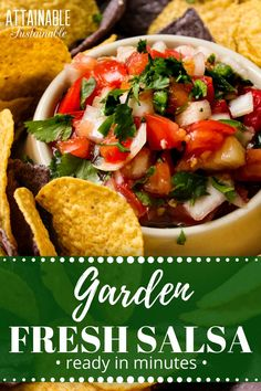 This fresh garden salsa is a summertime treat. Memorize these five ingredients; you'll never need a salsa recipe again. Nothing makes salsa as good as. Canning Recipes, Raw Food Recipes, Mexican Food Recipes, Healthy Recipes, Ethnic Recipes, Canning 101, Dip Recipes, Healthy Foods, Yummy Recipes