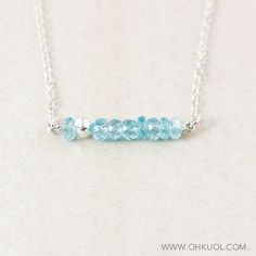 Blue Apatite Necklace - Silver Pyrite Beads - 925 Sterling Silver