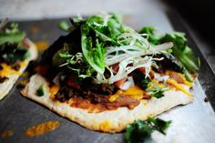 Mexican Flatbread Pizza. Make the flatbread from rolling out canned biscuits  and baking at 375 for about 8 minutes.
