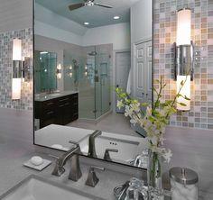 Bathroom sconce, sink, mirror, backsplash, lighting, decor, cabinet, design | Interior Designer: Carla Aston