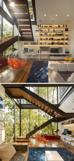 These wood and steel stairs are perfect for sitting on and looking out the floor-to-ceiling windows.
