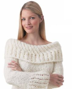 Patons® Divine Lacework Sweater not use this fuzzy yarn, but like pattern. Sweater Knitting Patterns, Knitting Yarn, Knit Patterns, Free Knitting, Knitting Needles, Knitting Sweaters, Patons Yarn, Knitting Supplies, Knitted Shawls