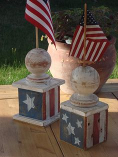 Rustic American Flag Holder. $18.00, via Etsy.
