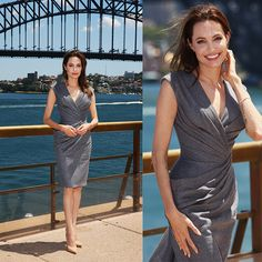 "On the occasion of the photo call of ""Unbroken"" in Sydney, Angelina Jolie was breathtaking in a custom-made pale grey Atelier Versace cocktail dress, with a plunging neckline, fully draped on the front. #AtelierVersace #VersaceCelebrities #Versace"