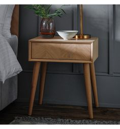 Brand: Gallery Dimensions: x x Colour: Oak The stunning Milano 1 Drawer Side Table features a beautiful inlay chevron design, and is made Side Table Styling, Side Table Lamps, Side Table With Storage, Bed Side Table Ideas, Portobello, Mens Bedding Sets, Wooden Bedside Table, Wood Desk, Chevron