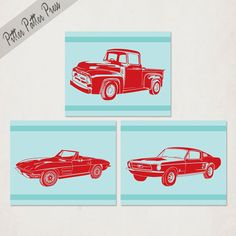 Boys Nursery Art Illustration, Transportation Series wall art prints, Antique Muscle Cars,  red and aqua or pick your own colors, 8x10