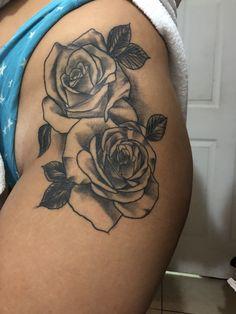 Hergestellt von Stella Luo Tätowierern in Toronto, Kanada - rose tattoos Side Thigh Tattoos Women, Hip Thigh Tattoos, Rose Tattoo Thigh, Flower Thigh Tattoos, Hip Tattoos Women, Black Rose Tattoos, Best Tattoos For Women, Back Tattoo Women, Popular Tattoos