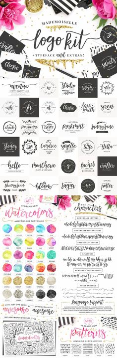 How amazing is the Mademoiselle logo kit?  It includes this gorgeous, bouncy script front and 32 lovely, pre-made logos and lots of pretty extras.  Extras include swashes, foils, watercolours, doodles and patterns.  You can buy it from Creative Market usi http://jrstudioweb.com/diseno-grafico/diseno-de-logotipos/