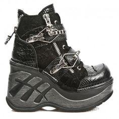 Chaussures New Rock Neo Cuña Sport en Serpent Noir Maki M.SP0003-C3