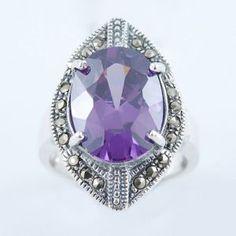 Inel Din Argint 925 Decorat Cu Marcasite Si Zircon Mov Ametist Marcasite, Heart Ring, Sapphire, Rings, Jewelry, Jewlery, Jewerly, Ring, Schmuck