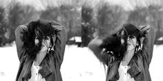 Winter, frost, hair, girl, photography, flash, cold, lips, shiny jacket, fashion, black and white, DTPhotography