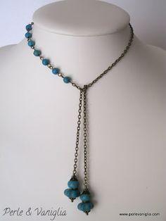 Asymmetrical necklace.  A nice alternative.  Perle & Vaniglia: Choker di Turchese