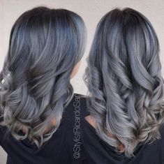 Metallic Melt | Love these tones together! Charcoal Root with a dimensional Silvery-Blue! I created this look using all @Joico products! #b3