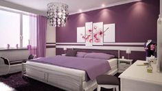 Imagen: dormitorio con paredes moradas.