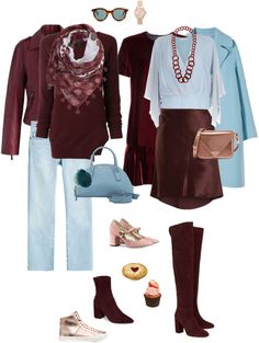 The scarf, the top, the jacket, the OTK boots are all awesome here! Ensemble: Wine on Ice Color Combinations For Clothes, Color Blocking Outfits, Look Fashion, Winter Fashion, Fashion Outfits, Womens Fashion, 1980s Fashion Trends, Fashion Capsule, Elegant Outfit