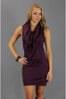 Gypsy Junkies: Eggplant Purple Slouch Dress   - Available at www.shop312.com -  This eggplant purple lightweight sleeveless dress by Gypsy Junkies has an oversized snap-button secured bodice overlay and slouched silhouette.