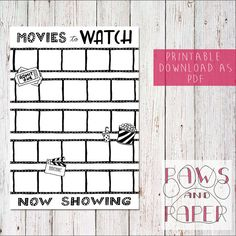 PRINTABLE Handdrawn Movie Wishlist A5 | Movies to Watch | Bullet Journal, Planner, Filofax, Leuchtturm 1917