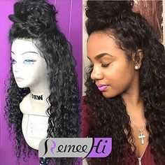 Natural Wig pretty curly full/front lace wig brazilian remy human hair baby hair